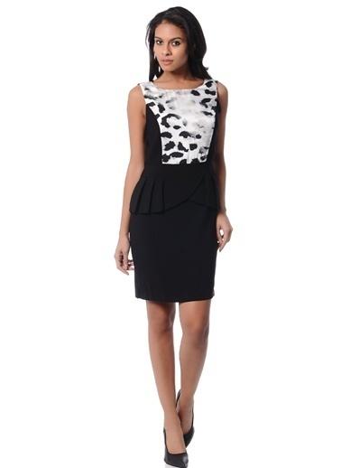 Limon Company Bato Yaka Desenli Kalın Askılı Kadın Elbise Siyah